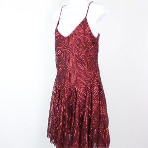 Betsey Johnson burgundy red skater dress sequins